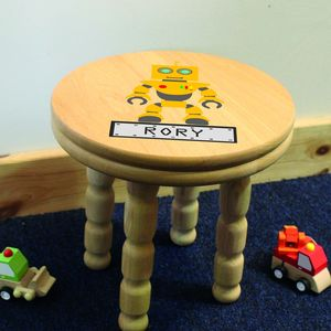 Personalised Robot Wooden Childrens Stool - whatsnew