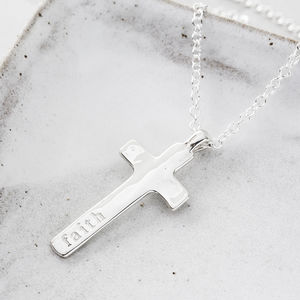 Personalised Silver Maxi Cross Necklace - first holy communion gifts
