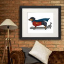 Dachshund Print Superhero On Skateboard, Art Print