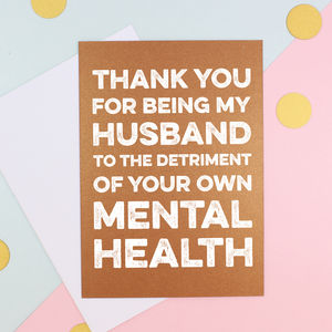 Thank You For Being My Husband Valentine's Day Card - valentine's cards