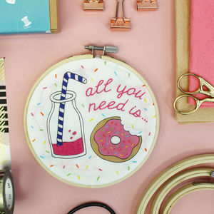Milkshake And Doughnuts Embroidery Craft Kit