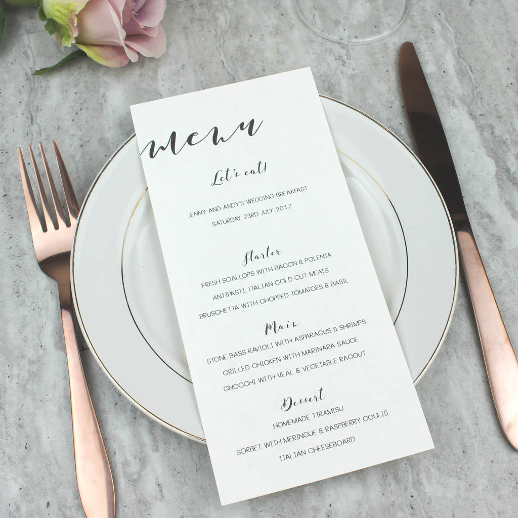Modern Calligraphy Wedding Menu By Beija Flor Studio