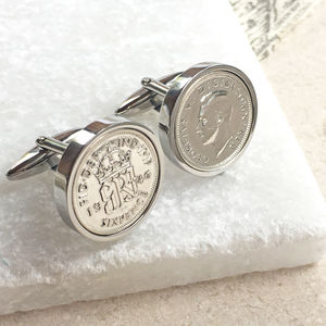 Sixpence Date Coin Cufflinks 1928 To 1967 - 80th birthday gifts