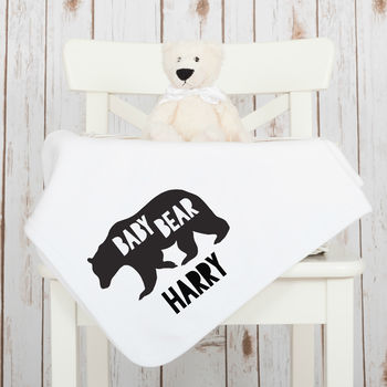 Personalised New Baby Bear Cotton Blanket