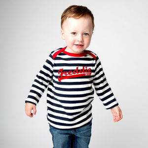 Personalised Stripy Baseball Long Sleeve Top