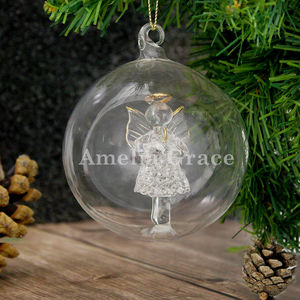 Personalised Glass Christmas Bauble - hanging decorations