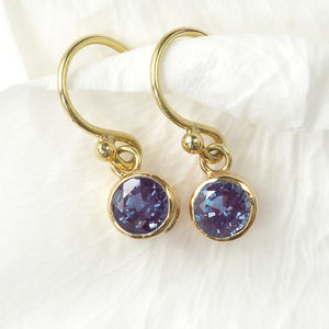 Alexandrite Earrings In 18ct Gold, June Birthstone - earrings
