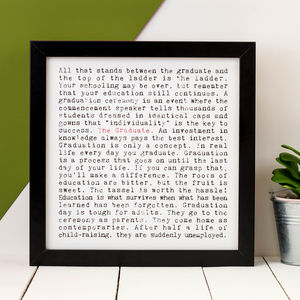 Graduation Gift; 'The Graduate' Small Print