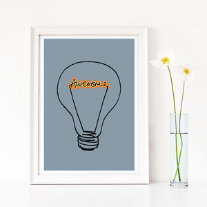'Awesome' Lightbulb Art Print - typography