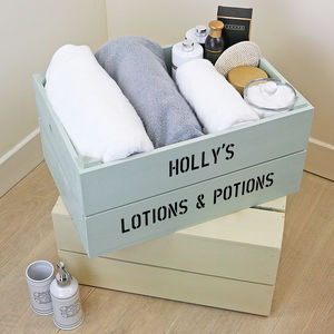 Personalised Bathroom Storage Crate - living room