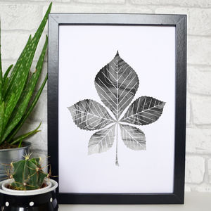 Horse Chestnut Leaf Marble Print - drawings & illustrations