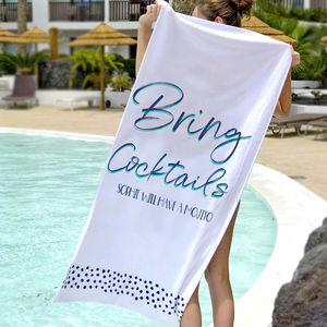 Personalised Bring Cocktails Holiday Beach Towel - bed, bath & table linen