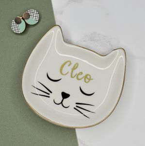 Personalised Cat Trinket Dish White And Gold - jewellery storage & trinket boxes