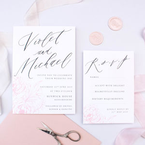 Delicate Blush Wedding Invitation - invitations