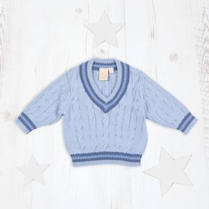 Baby Boys Pale Blue Cricket Jumper