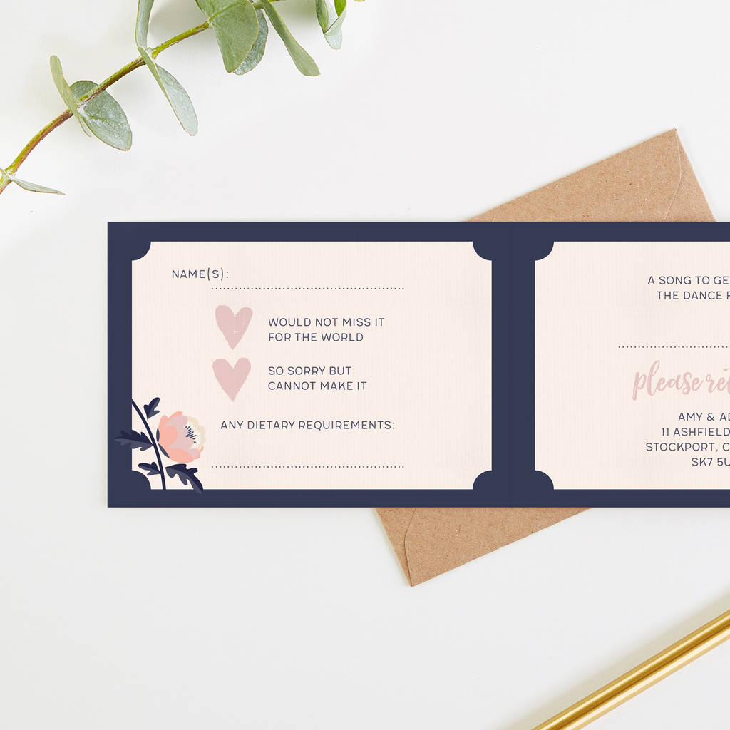 Wedding Invites Blush And Navy By Norma