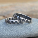 Harlequin Textured Stacking Ring In Sterling Silver