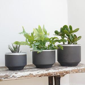 Set Of Three Dark Grey Ceramic Planter Pots - pots & planters