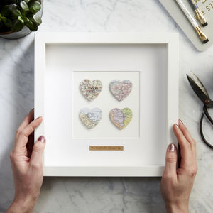 Personalised Four Hearts Map Picture - gifts for couples
