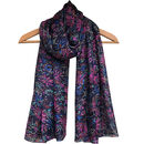 Large 'Midnight Garden' Pure Silk Scarf