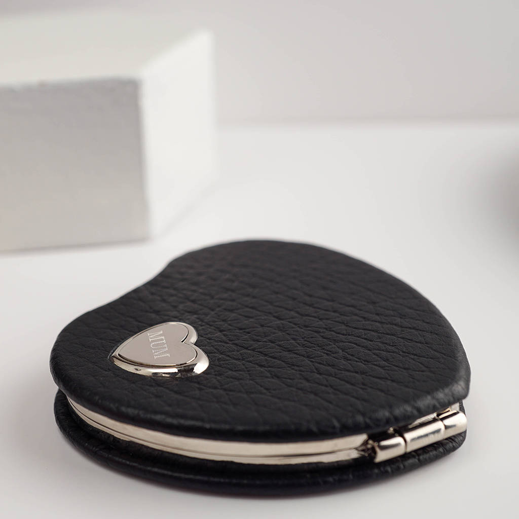 Personalised Heart Shaped Compact Mirror