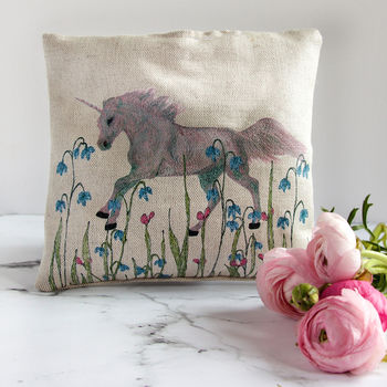 Unicorn In A Meadow Herb Scented Cushion