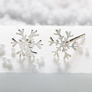 Silver Snowflake Stud Earrings - earrings