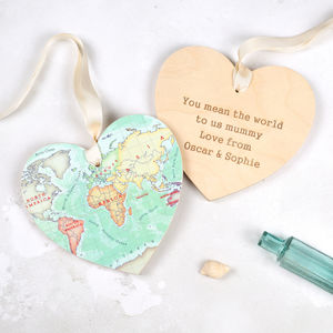 You Are My World Map Hanging Heart Gift For Her - personalised gifts for mothers