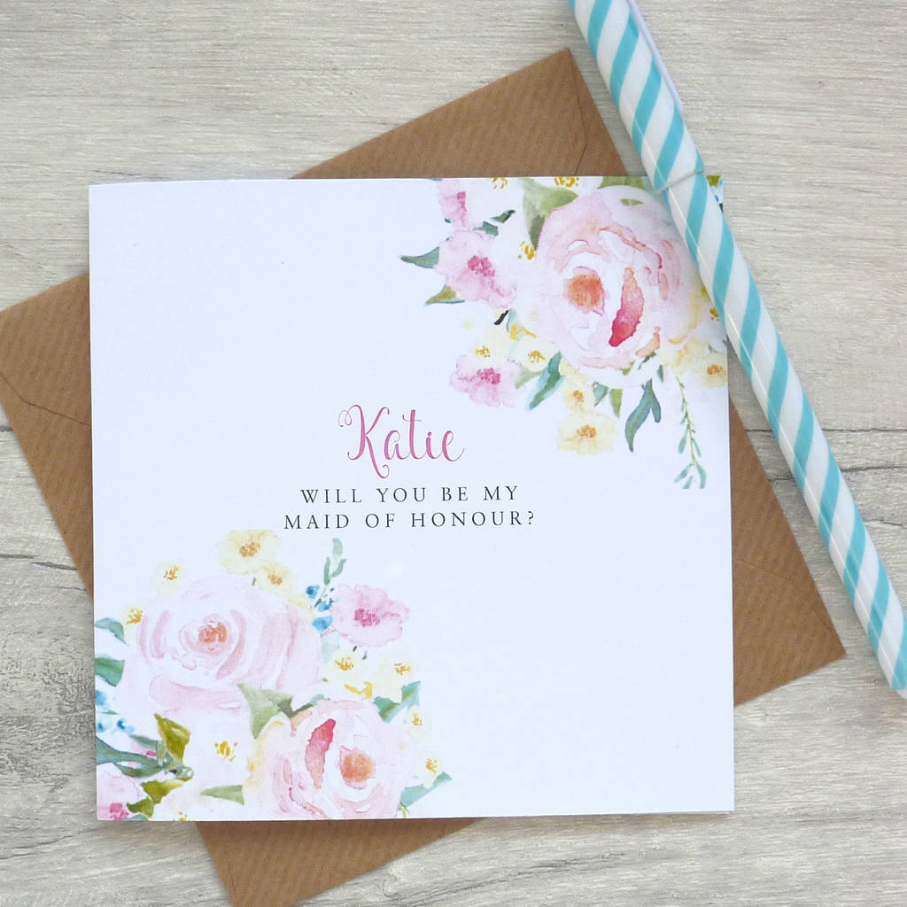 Be My Maid Of Honour Floral Card