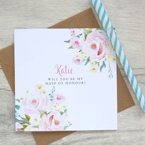 Be My Maid Of Honour Floral Card - be my maid of honour