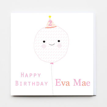 Birthday Girl Balloon Greeting Card