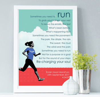 Personalised Running Print: Gift For Runner