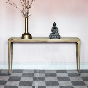 Rectangular Console Table In Gold - furniture