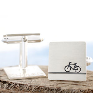 Personalised Sterling Silver Bike Cufflinks - men's jewellery