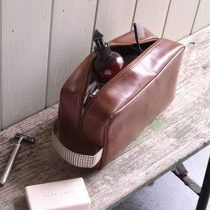 Personalised Leather Washbag - brand new partners