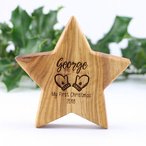 Personalised First Christmas Wood Star With Nine Images