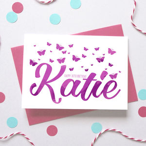 Personalised Birthday Butterfly Name Card