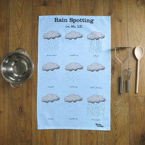 Rain Spotting In The U.K. Tea Towel - cooking & food preparation