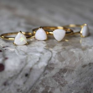 14k Gold Vermeil Australian White Opal Triangle Ring - rings