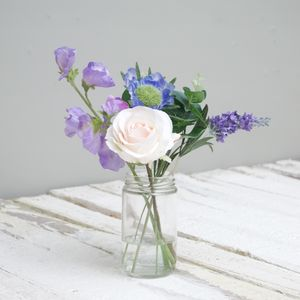 Faux Flower Garden Bouquet Of Sweet Pea And Scabious