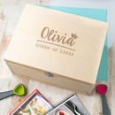 Personalised For Her 'Queen Of Cakes' Baking Recipe Box