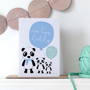 Personalised Daddy Valentine's Card With Cute Pandas