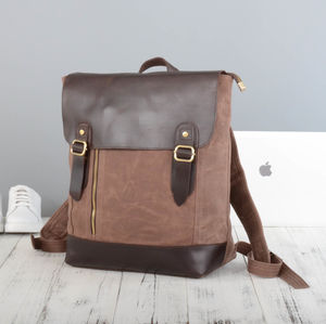 Handmade Waxed Canvas Zip Detail Backpack - men's accessories