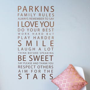 Personalised Metallic Copper Family Rules Wall Sticker - wall stickers