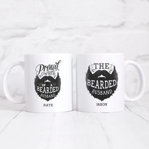 Personalised His And Hers Bearded Husband Couples Mugs