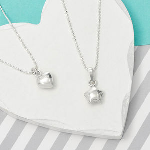 Girl's Sterling Silver Heart Or Star Necklace