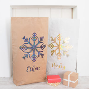 Personalised Glitter Snowflake Paper Christmas Sack - treats & food