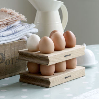 Wooden Egg Rack Solid Oak Pair | Gift Boxed
