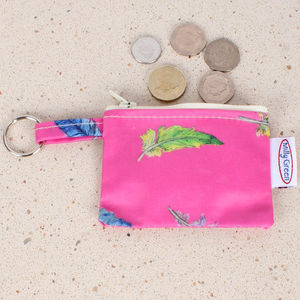 Coin Purse With Key Ring Pink Feathers - women's accessories