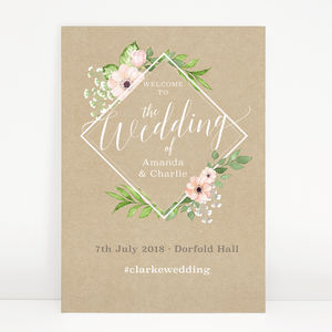 Botanical 'Eloise' Wedding Welcome Sign - outdoor wedding signs